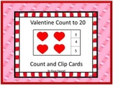 Valentine's Day Task Cards Counting to 20 Kindergarten Aut