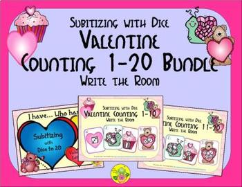 Valentine Counting 1-20 Bundle {Subitizing with Dice}