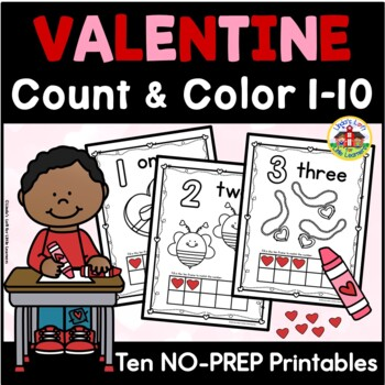 Valentine Count and Color Printables 1-10