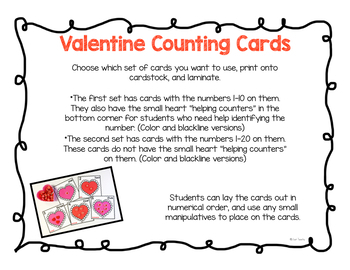 Valentine Counting Cards - Numbers 1-20