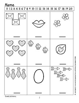 Valentine Counting Pictures and Dots Addition Printables