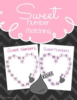 Valentine's Day Number Matching Game 1-20