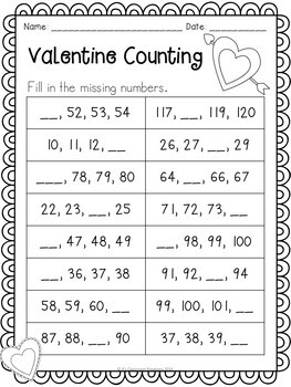 Valentine Counting to 120 Math Center