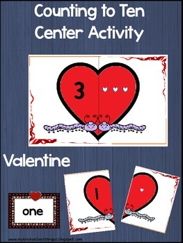 Valentine Counting to Ten Center Activity