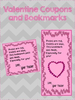 Valentine No Homework Coupon and Bookmark
