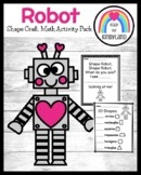 Robot Shape Counting Math Activity for Kindergarten with Valentine's Day Craft