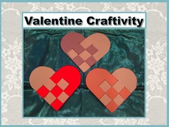 Valentine Craftivity - Woven Pattern Hearts - Print and Go - NO PREP!!