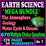 Earth Science Mega Bundle.  34 Worksheets. 170 Pages. 670