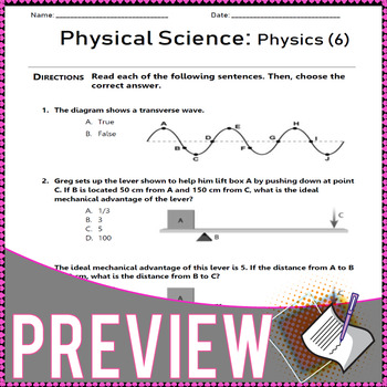 Physical Science. Energy, Sound, Heat, Waves, Matter. Worksheets. Grade 7
