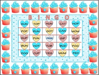 Valentine Cupcake Bingo Cards - 25 in all with 3-Letter Phonetic Words