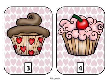 Valentine Cupcake Counting Mats