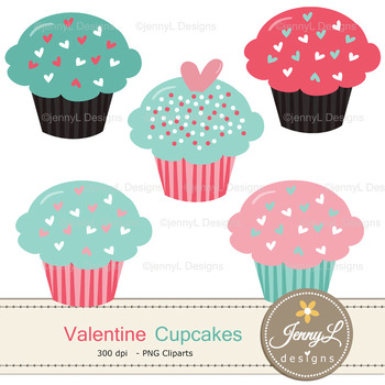 Valentine Cupcake Digital Papers and Cliparts