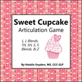 Sweet Cupcake Game for Articulation - L, L & S Blends, TH, SH, CH, S, & Z