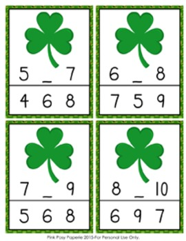 St Patrick's Day Numbers In Between Clip Cards