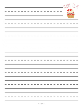 Valentine Cupcake Primary Lined Paper