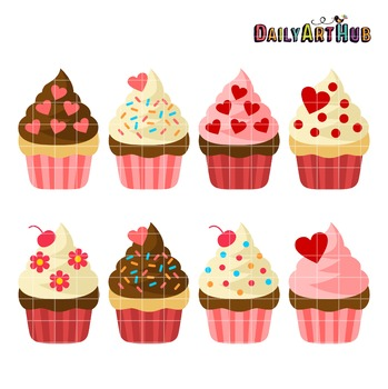 Valentine Cupcakes Clip Art - Great for Art Class Projects!