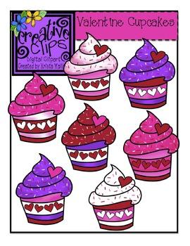 Valentine Cupcakes {Creative Clips Digital Clipart}