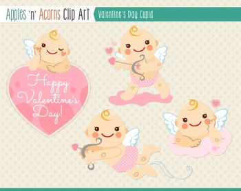 Valentine Cupid Clip Art - color and outlines