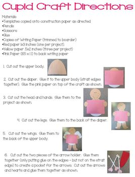 Valentine Cupid Craft and Writing Activity