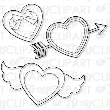 Valentine Cupid's Hearts Clip Art (Digital Use Ok!)