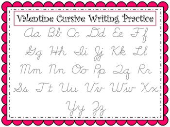 Valentine Cursive Writing Practice