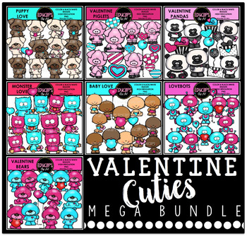 Valentine Cuties Clip Art Mega Bundle {Educlips Clipart}