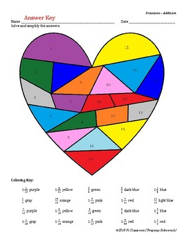 Valentine Day Adding Fractions