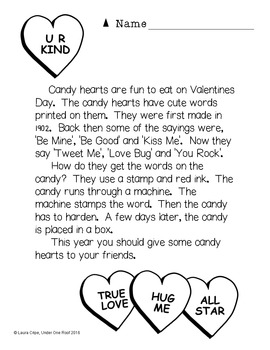 Valentine's Day Close Reading and Creative Writing for Primary Grades