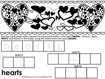 Valentine Day Letter Tile Fun Task Cards /V-Day Words & Words Made From Them