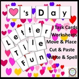 Valentine Day Letter Tile Fun Task Cards /V-Day Words & Wo