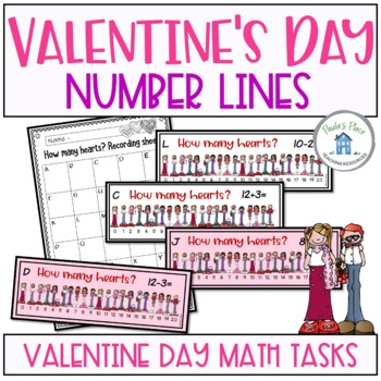 Valentine Day Math Number Lines