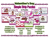 Valentine Day Simple Strip Line Puzzles ~ Alphabet & Numbers