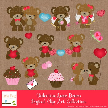 Valentine Day's Bear Digital clip Art Set