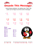 Valentine Decoding- Adding 10 Worksheet