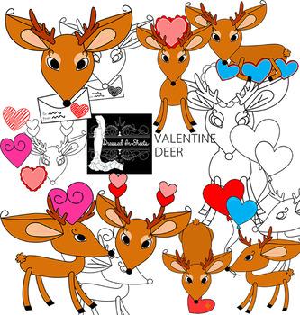 Valentine Deer Clip Art