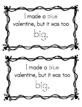 Valentine Descripive Book: Writing Color & Size Descriptive Sight Words TK or K