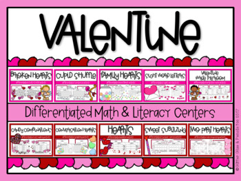 Valentine Differentiated Math and Literacy BUNDLE