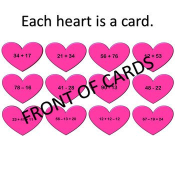 Valentine Digi Flash Cards - 2 Digit Addition and Subtraction