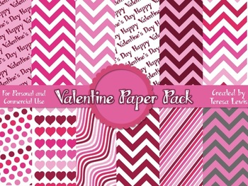 Valentine Digital Paper Pack