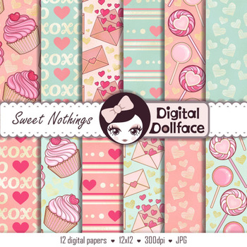Valentine Digital Paper / Pink, Mint and Gold / Candy, Cupcakes Digital Paper