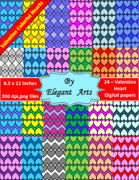 Valentine  Digital Papers - Colorful Heart with Black Border Theme
