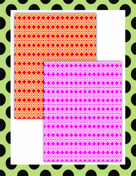 Valentine Digital Papers - Colorful Heart with White Border Theme