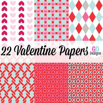 Valentine Paper, Valentines Day, Hearts, Digital Paper, Valentine
