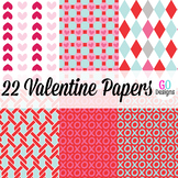 22 Valentine Papers, Valentines Day, Hearts, Digital Paper