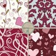 Valentine Digital Papers - No Texture - Love and Hearts Patterned Backgrounds