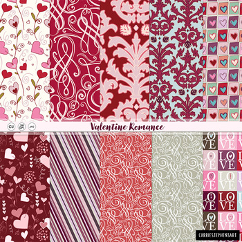 Valentine Digital Papers, Love, Hearts Patterned Background