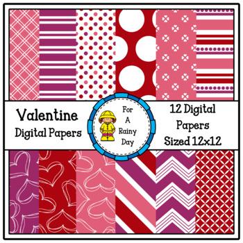 Valentine Digital Papers (Red, Pink & Purple)