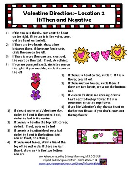 Valentine Directions- Location (1-step, 2-step, If/then)