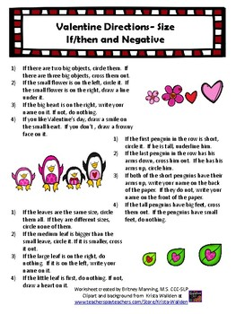 Valentine Directions- Size (1-step, 2-step, and if/then)