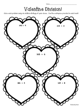 Valentine Division!  Math Practice Leveled Worksheets